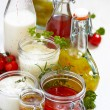 Assortment of salad dressings — Stock Photo