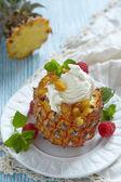 Fruit sorbet ice cream in small pineapple — Foto Stock