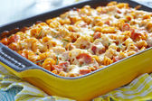 Baked pasta with ham — Stock Photo