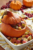 Stuffed pumpkin with fruits — Stock Photo