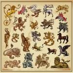 Heraldic elements beasts — Stock Vector