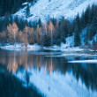 Winter lake scene with beautiful reflection — Stock fotografie