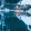 Winter lake scene with beautiful reflection — ストック写真