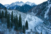 Winter snow mountain scene — Stock Photo