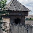Wooden tower and the wall of the stockade - Stock Photo