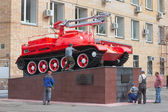 Monument, propelled fire engine — Stock Photo