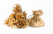 Christmas tree of the golden cones and a bag of gifts — Stock Photo