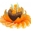 Chocolate dessert decorated with tangerines — Stock Photo