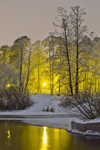 Winter river on the background of night city lights — Stock Photo