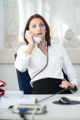 Businesswoman is shocked at the phone — Foto de Stock