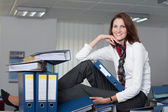 Businesswoman with many files — Foto de Stock