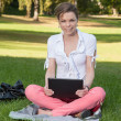Young, beautiful woman sits on a meadow with a laptop — Stock Photo
