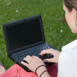 Woman sits on a meadow with a netbook — Stock Photo