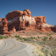 Street near the Rock Pinnacles at the Arches National Park — Stock Photo