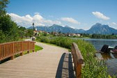Boardwalk at lake Hopfensee — Stock Photo