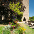 Castle garden in Rothenburg ob der Tauber - Stock Photo