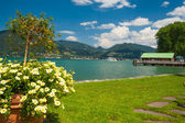 Lake Tegernsee near the town Bad Wiessee — Stock Photo