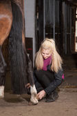 Girl brushes her pony — Stock Photo