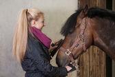 Girl brushes her pony — Stock Photo