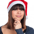 Young womwith Christmas jelly bag cap — Stock Photo #37045655