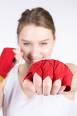 Woman is boxing — Stock Photo