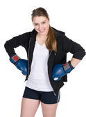 Young smiling female boxer — Stock Photo