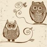 Owls Hand drawn — Stock Vector