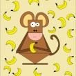 Monkey with banana — Stock Vector