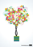 Flower tree in shape of a heart — Stock Vector