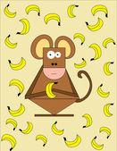 Monkey with banana — Stock Vector