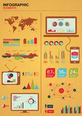 Retro infographics. World Map — Stock Vector