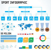 Sport  infographic set vector illustration. World Map and Inform — Stock Vector
