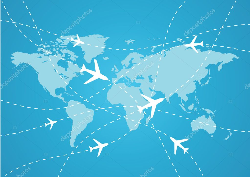 用飞机矢量世界旅游地图
