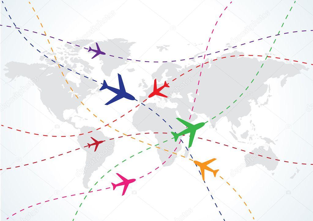 世界旅游地图上飞机