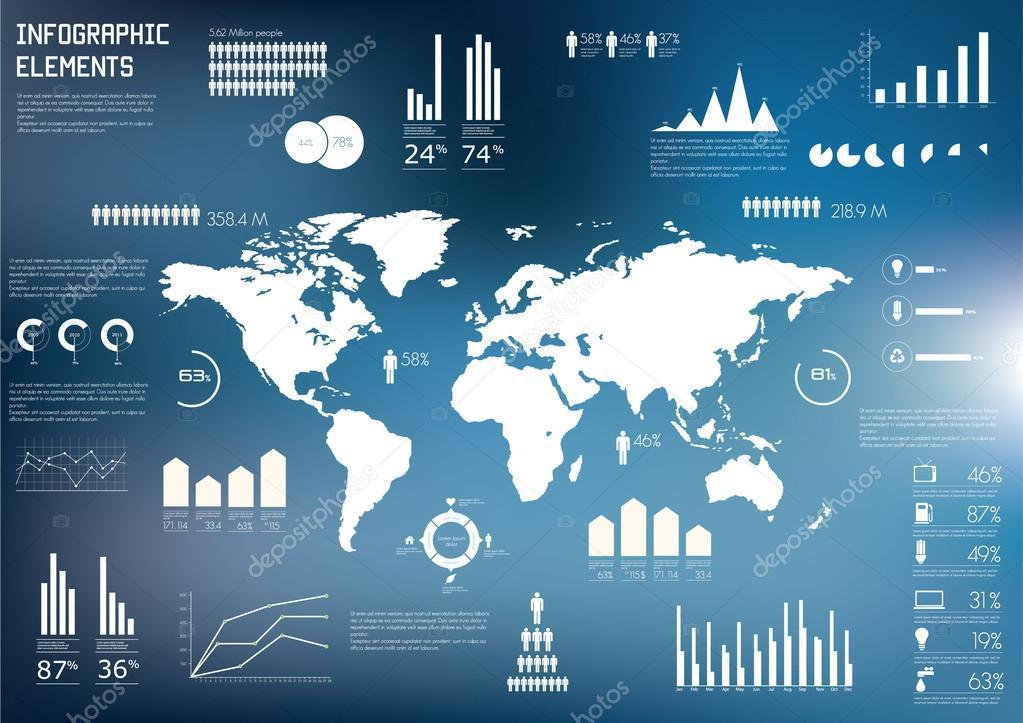 世界地图和信息的图形 — 图库矢量