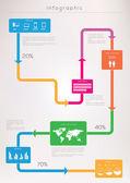 Mondo mappa e informazioni grafica — Vettoriale Stock