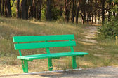 Green wooden bench in park — Stock Photo