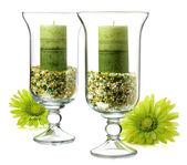 Green candles — Стоковое фото