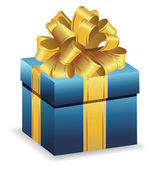 Caja de regalo azul — Vector de stock