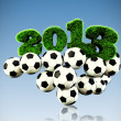 3D 2013 year grass text, title with Footballs in sky — Stock Photo #15781457