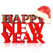 3D 2013 new year red text, title 3d render with gift pack and Santa hat — Stock fotografie
