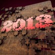 3D render 2013 year puzzle with dark red Background — Stock Photo
