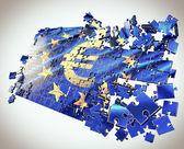 O quebra-cabeça da união europeia com o símbolo do euro — Foto Stock