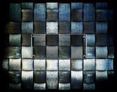 Silne żelaza siatki tło z szklaną płytkę — Zdjęcie stockowe