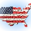 USA map with 3-d cubes abstract American flag — Stock Photo
