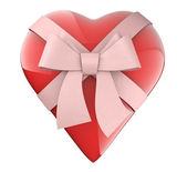 A nice heart with ribbon and bow gift — Stock Photo