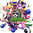 Football on TV with shiny colors of soccer clubs — Stock Photo #19028421