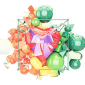 A nice heart with ribbon and bow gift vivid environment — Stock Photo
