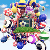 Football on tv with shiny colors of soccer clubs — Stock Photo