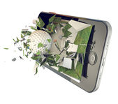 Golf ball on mobile phone — Stock Photo